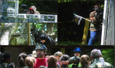 a photo collage of people playing paintball, capturing a paintball flag,  and receiving a group safety brief